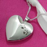 Pet Memorial Locket Paw Prints Silver Heart, personalised ref. SHPP